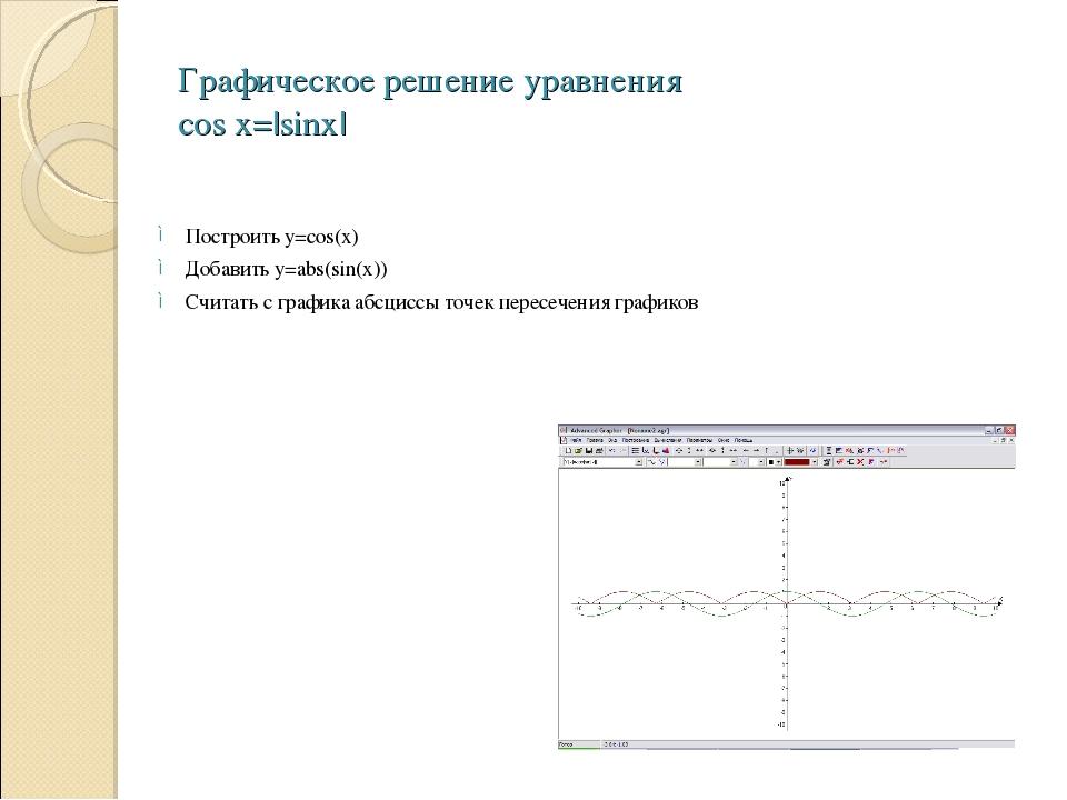 Графическое решение уравнения cos x=|sinx| Построить y=cos(x) Добавить y=abs(...