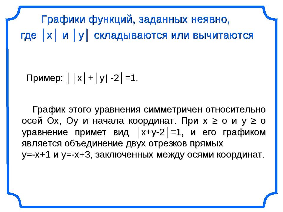 Графики функций, заданных неявно, где │х│ и │у│ складываются или вычитаются П...