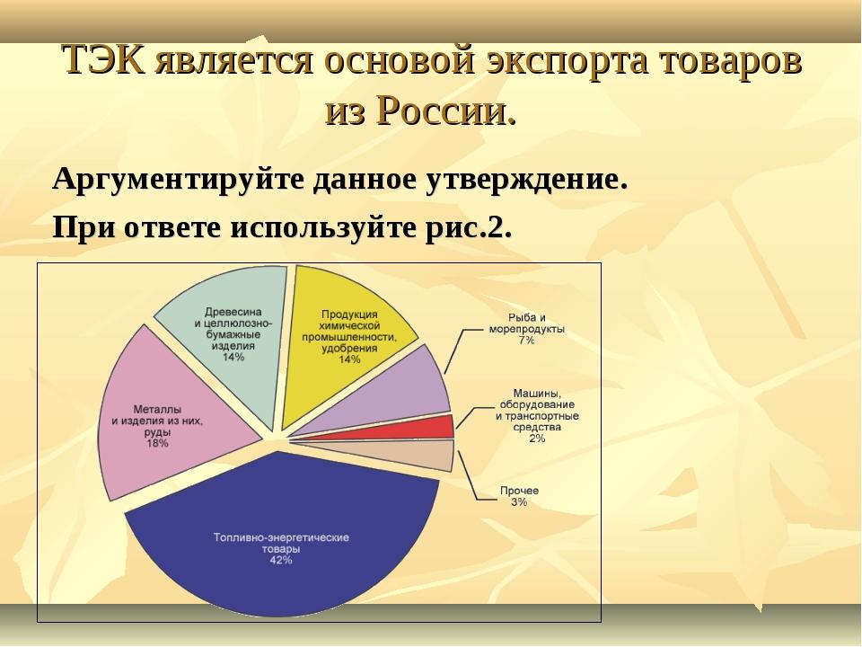 ТЭК является основой экспорта товаров из России. Аргументируйте данное утверж...