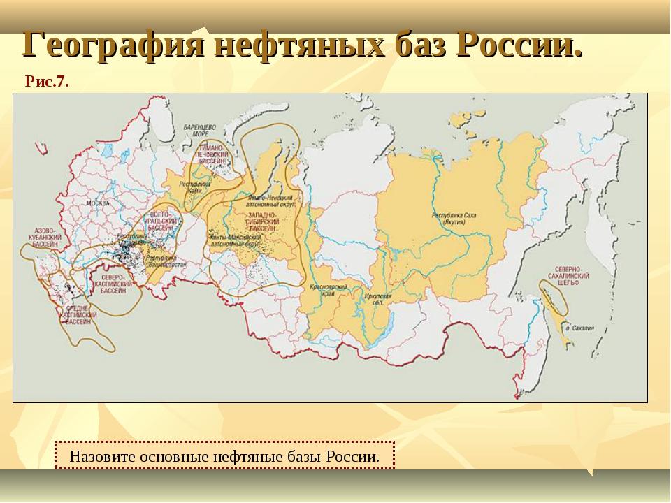 География нефтяных баз России. Назовите основные нефтяные базы России. Рис.7.