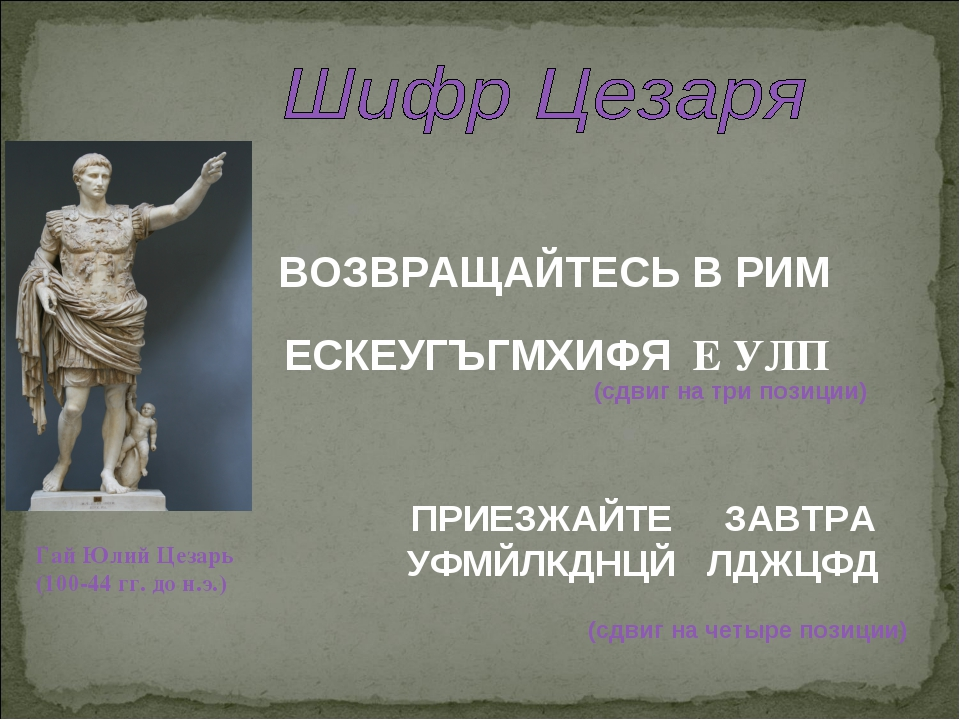 ВОЗВРАЩАЙТЕСЬ В РИМ ЕСКЕУГЪГМХИФЯ Е УЛП Гай Юлий Цезарь (100-44 гг. до н.э.)...