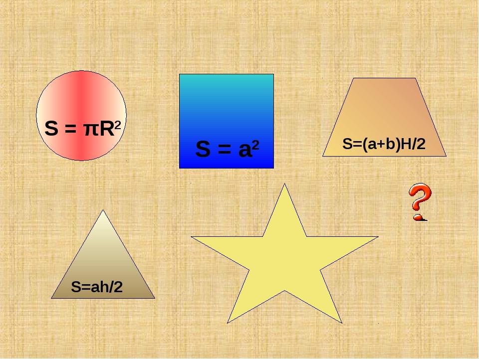 S = a2 S = πR2 S=(a+b)H/2 S=ah/2