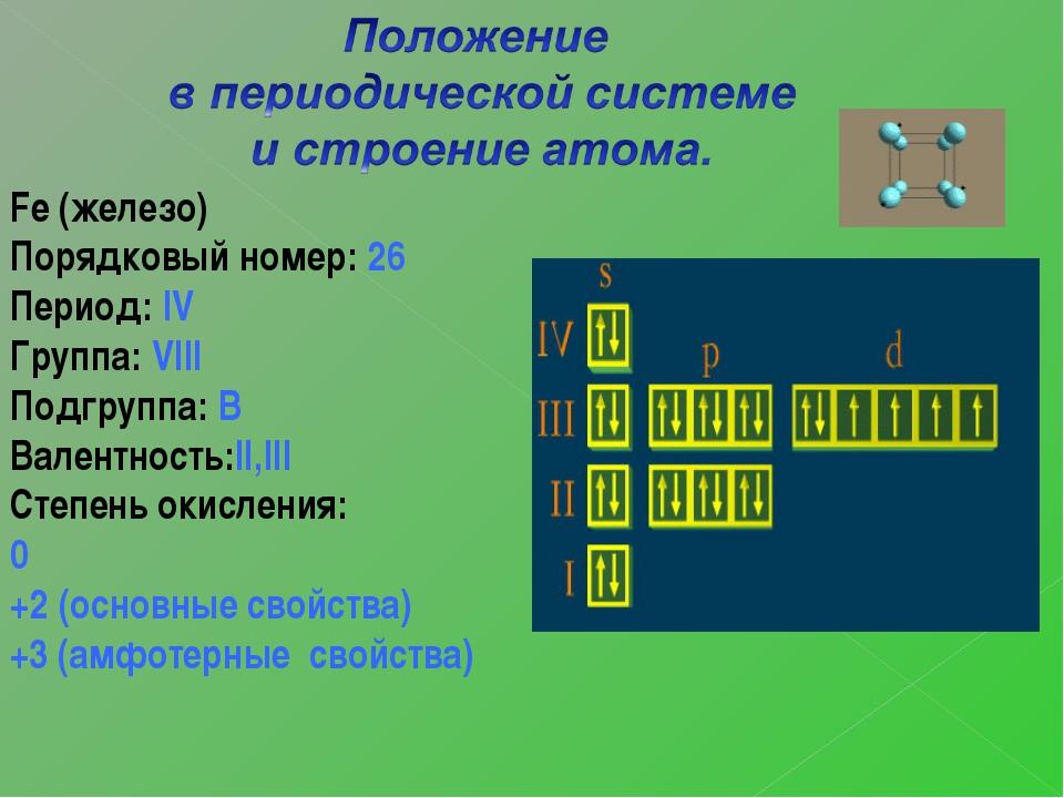 Fe (железо) Порядковый номер: 26 Период: IV Группа: VIII Подгруппа: В Валентн...