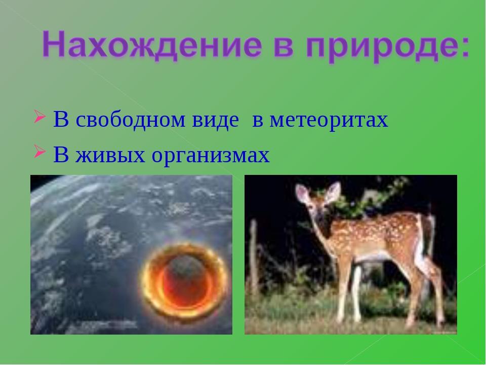 В свободном виде в метеоритах В живых организмах