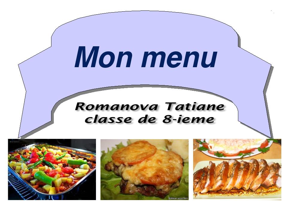 Mon menu