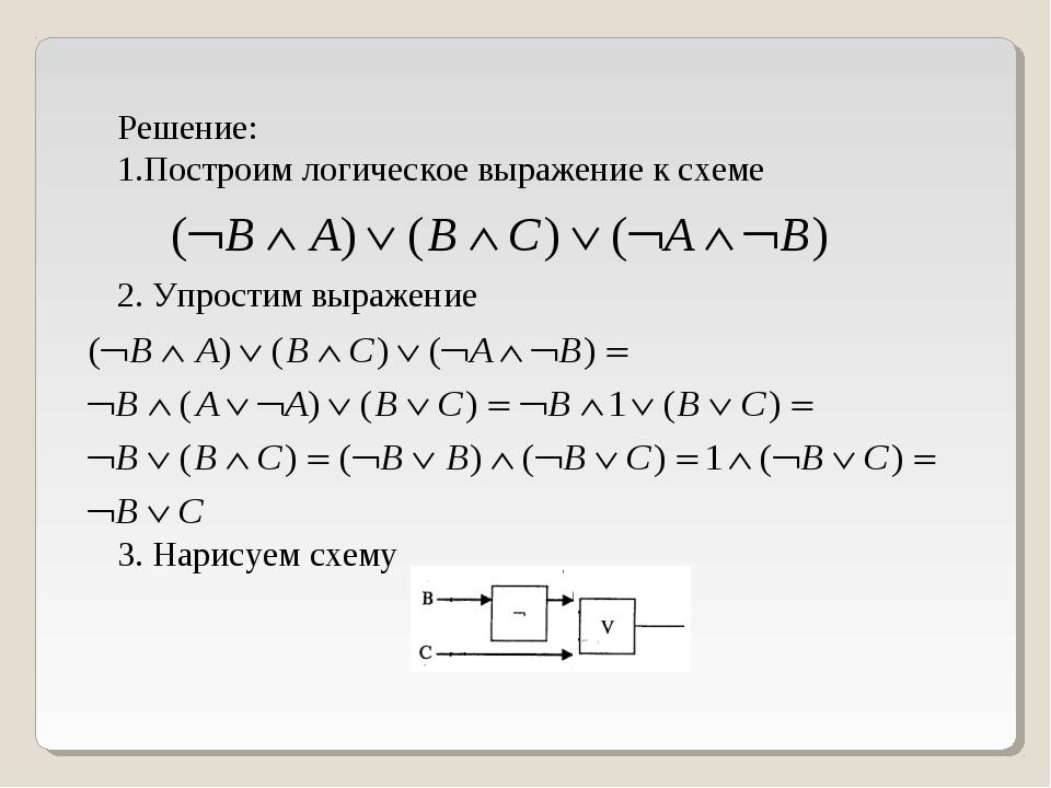 Решение: Построим логическое выражение к схеме 2. Упростим выражение 3. Нарис...