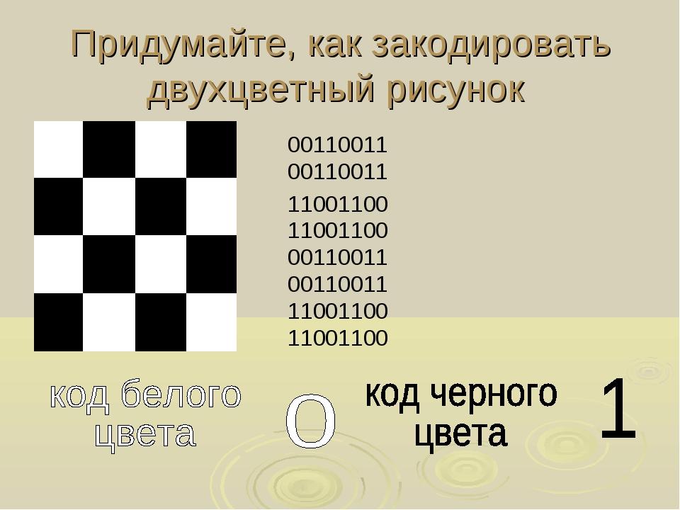 Придумайте, как закодировать двухцветный рисунок 00110011 00110011 11001100 1...