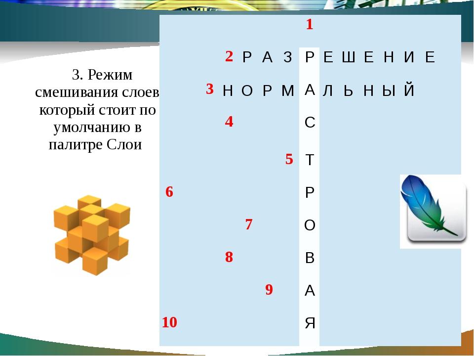 3. Режим смешивания слоев который стоит по умолчанию в палитре Слои 1 2  3 4...