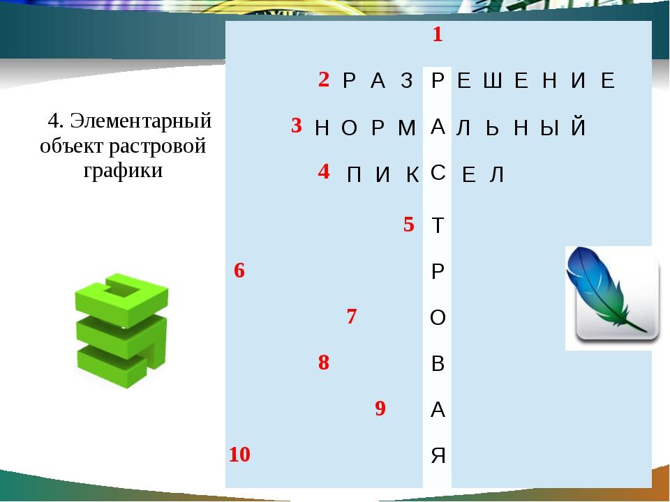 4. Элементарный объект растровой графики 1 2  3 4 5 6  7 8 9 10 Р А С Т Р О...