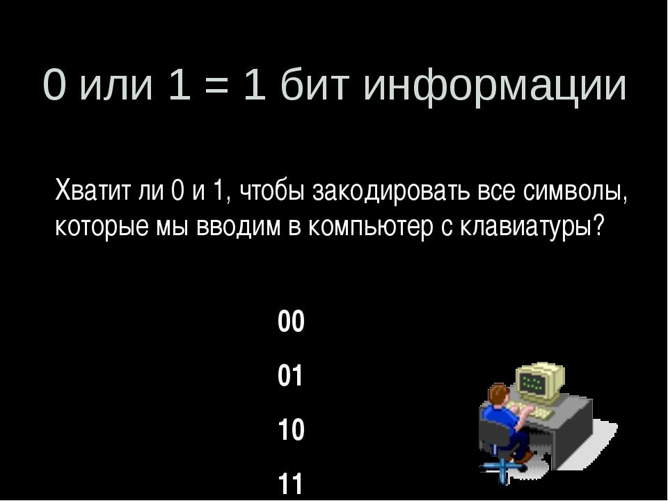 0 или 1 = 1 бит информации Хватит ли 0 и 1, чтобы закодировать все символы,...