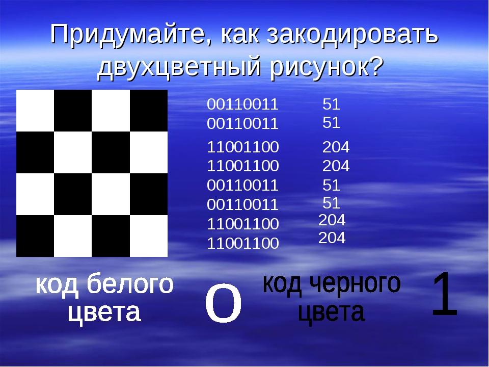 Придумайте, как закодировать двухцветный рисунок? 00110011 00110011 11001100...
