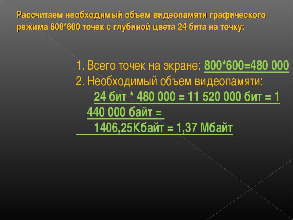 Рассчитаем необходимый объем видеопамяти графического режима 800*600 точек с...