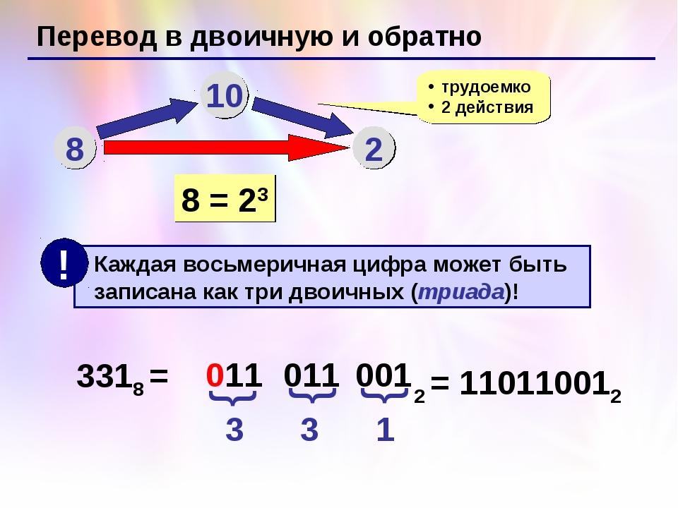 Перевод в двоичную и обратно 8 10 2 трудоемко 2 действия 8 = 23 3318 = 3 3 1...