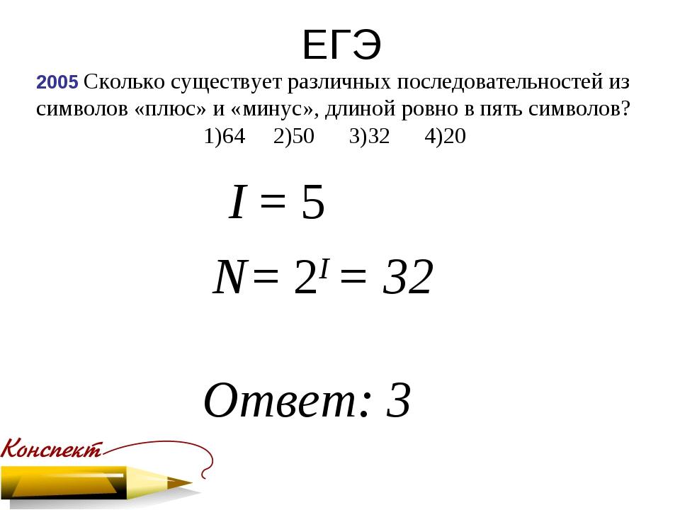 ЕГЭ 2005 Сколько существует различных последовательностей из символов «плюс»...