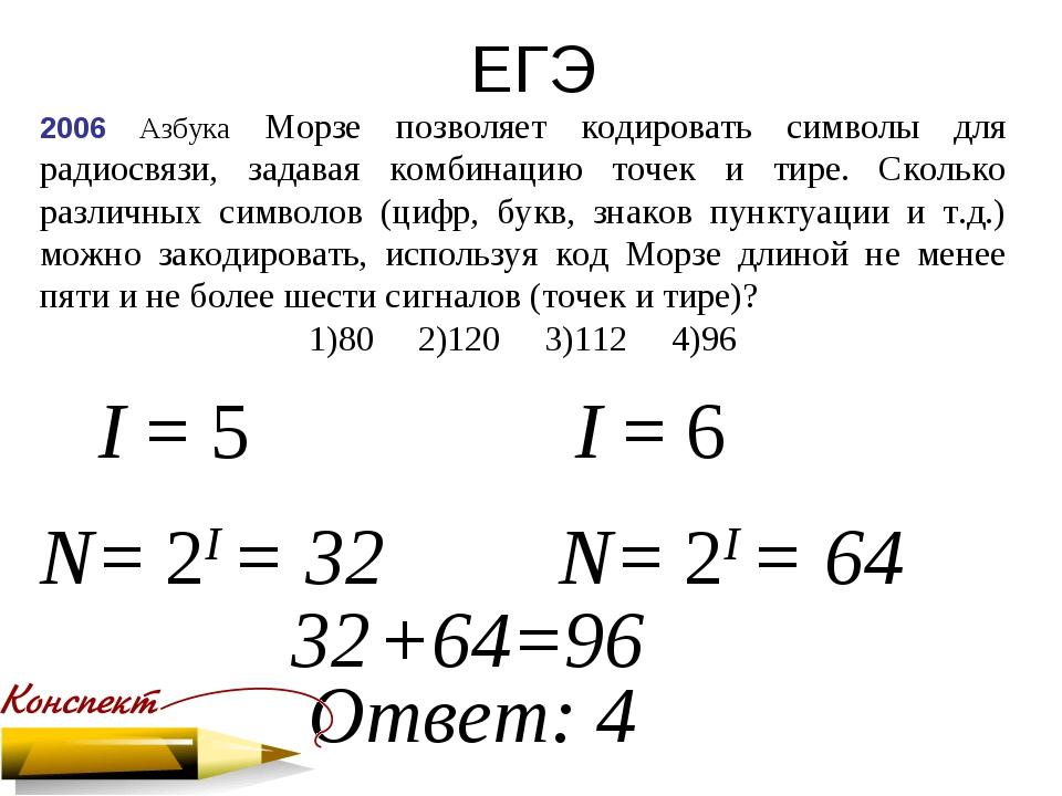 ЕГЭ 2006 Азбука Морзе позволяет кодировать символы для радиосвязи, задавая ко...