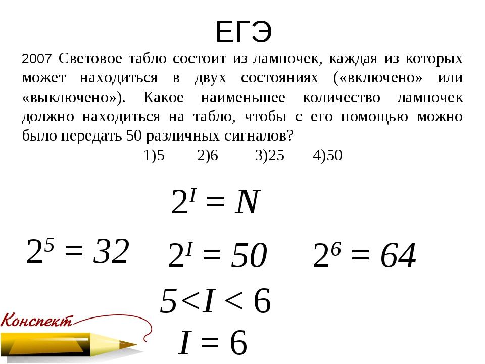 ЕГЭ 2007 Световое табло состоит из лампочек, каждая из которых может находить...