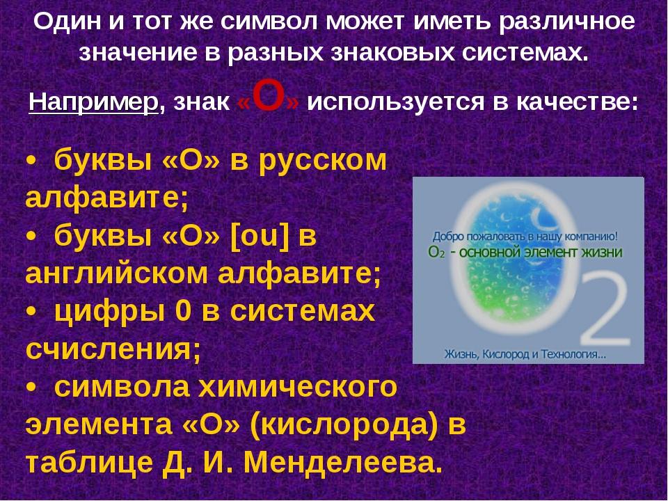 Один и тот же символ может иметь различное значение в разных знаковых система...