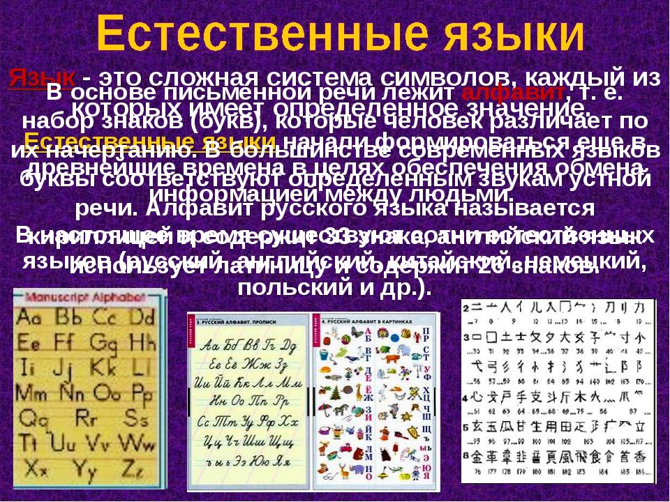 Язык - это сложная система символов, каждый из которых имеет определенное зна...