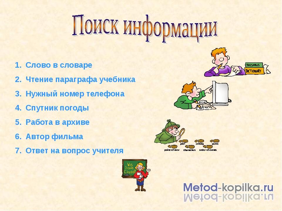 Слово в словаре Чтение параграфа учебника Нужный номер телефона Спутник погод...