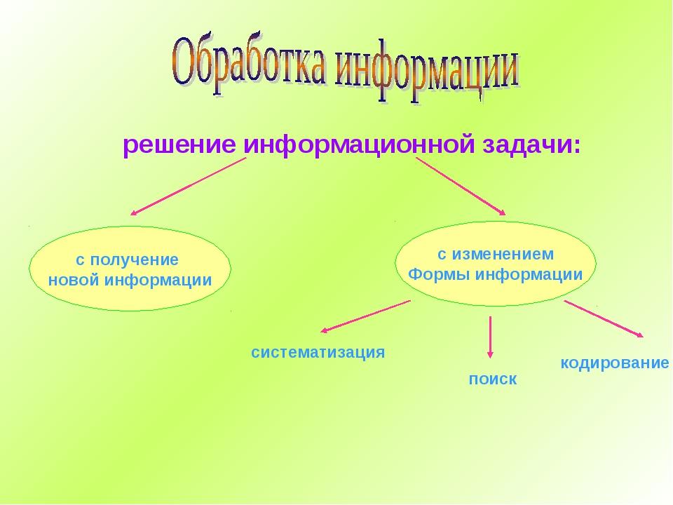 решение информационной задачи: с получение новой информации с изменением Форм...