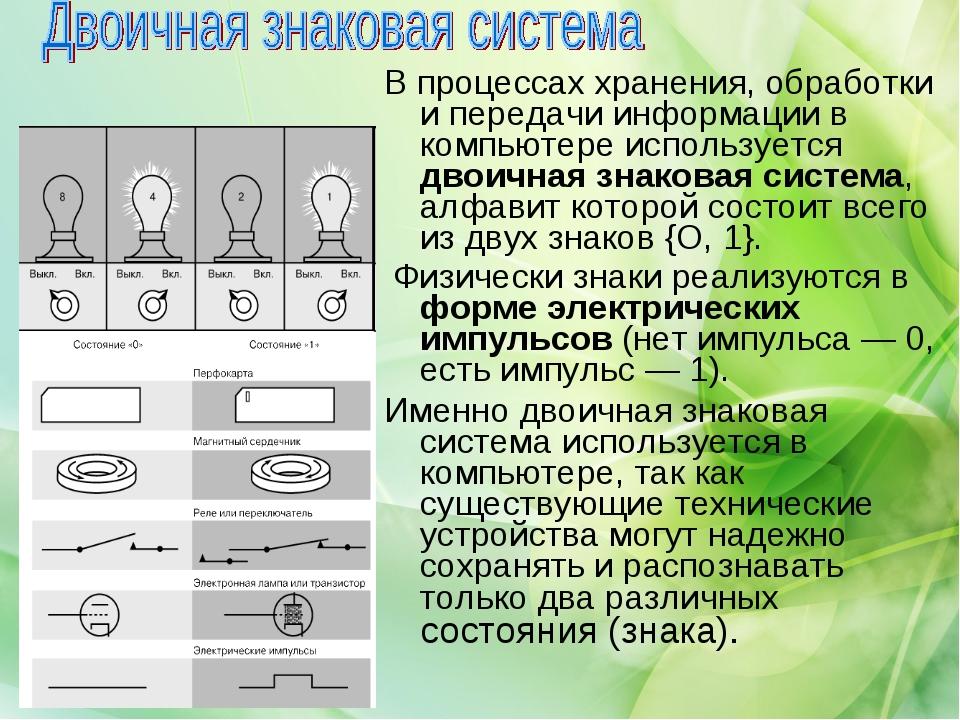 В процессах хранения, обработки и передачи информации в компьютере использует...