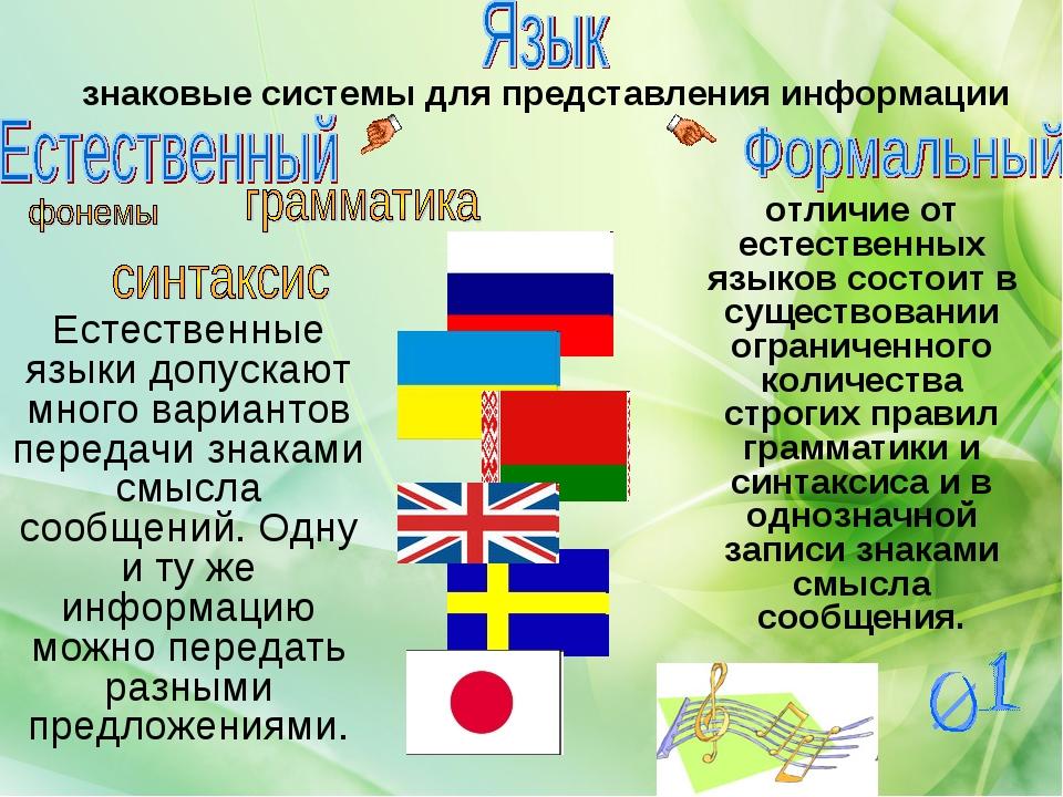 знаковые системы для представления информации отличие от естественных языков...