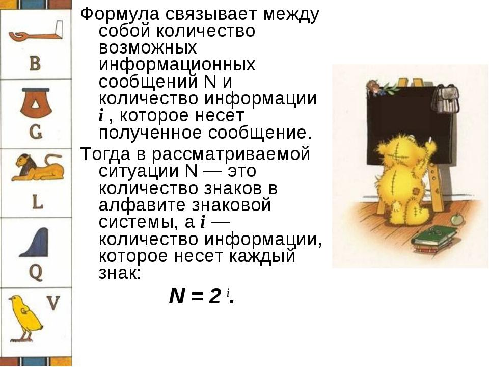 Формула связывает между собой количество возможных информационных сообщений N...