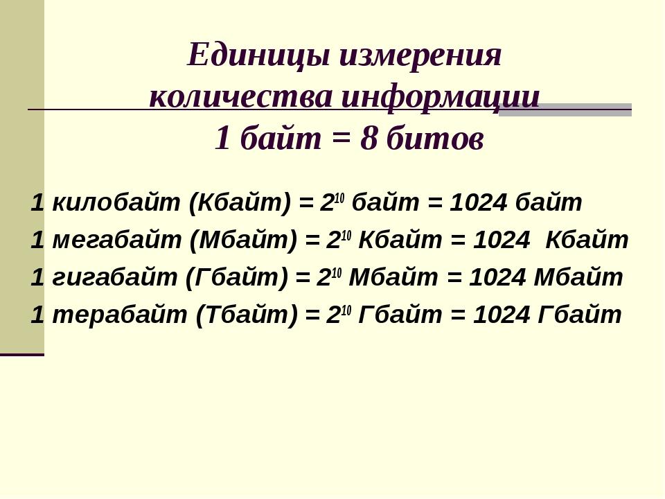 Единицы измерения количества информации 1 байт = 8 битов 1 килобайт (Кбайт)...
