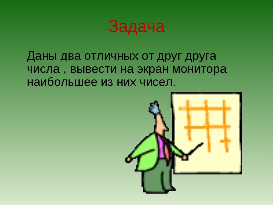 Задача Даны два отличных от друг друга числа , вывести на экран монитора наи...