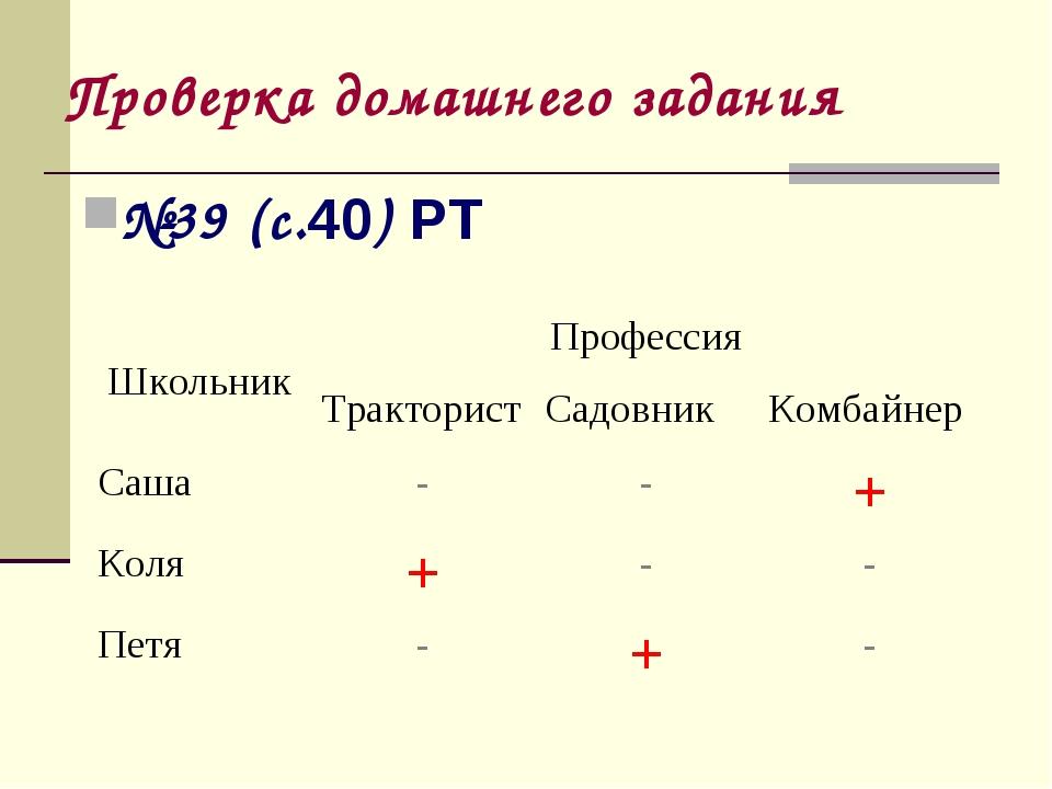 Проверка домашнего задания №39 (с.40) РТ ШкольникПрофессия ТрактористСадов...