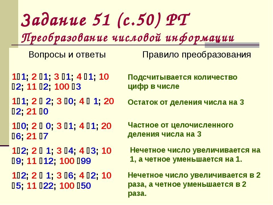 Задание 51 (с.50) РТ Преобразование числовой информации Число увеличивается н...
