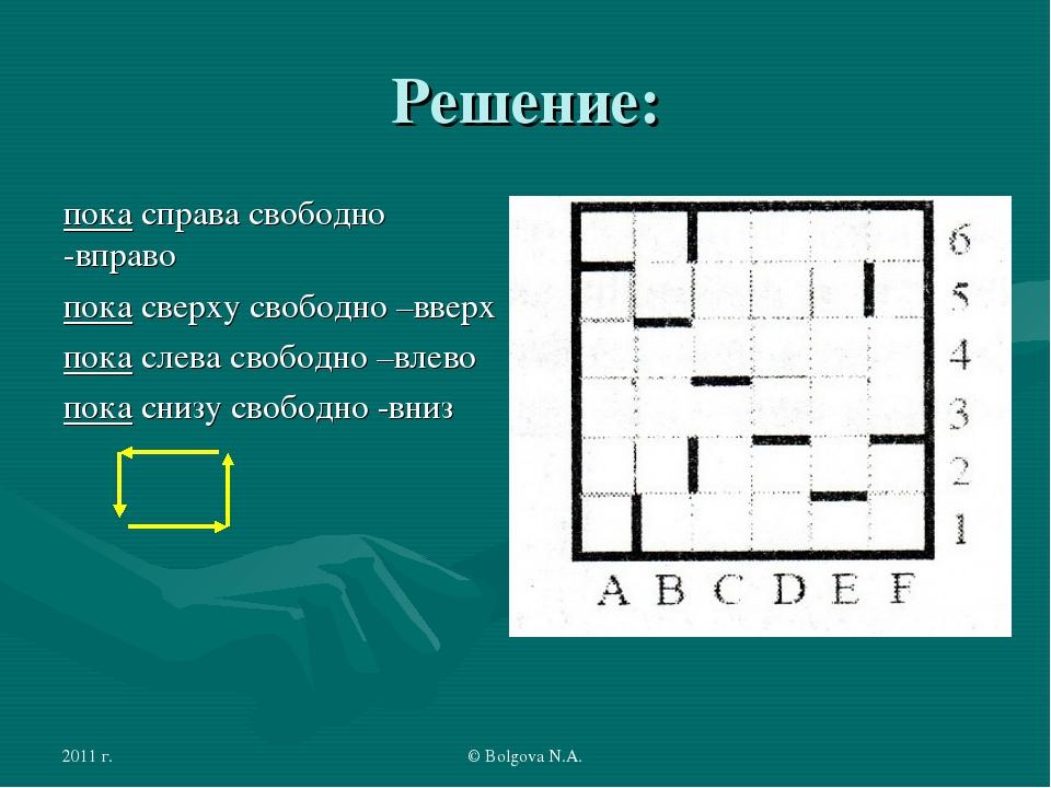 2011 г. © Bolgova N.A. Решение: пока справа свободно -вправо пока сверху своб...