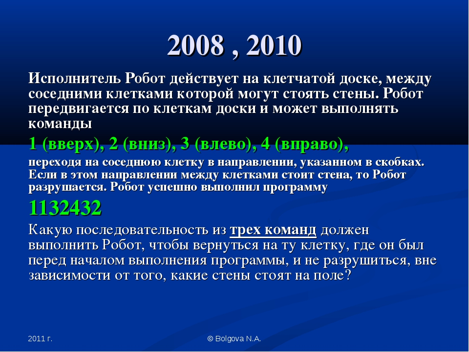 2011 г. © Bolgova N.A. 2008 , 2010 Исполнитель Робот действует на клетчатой д...
