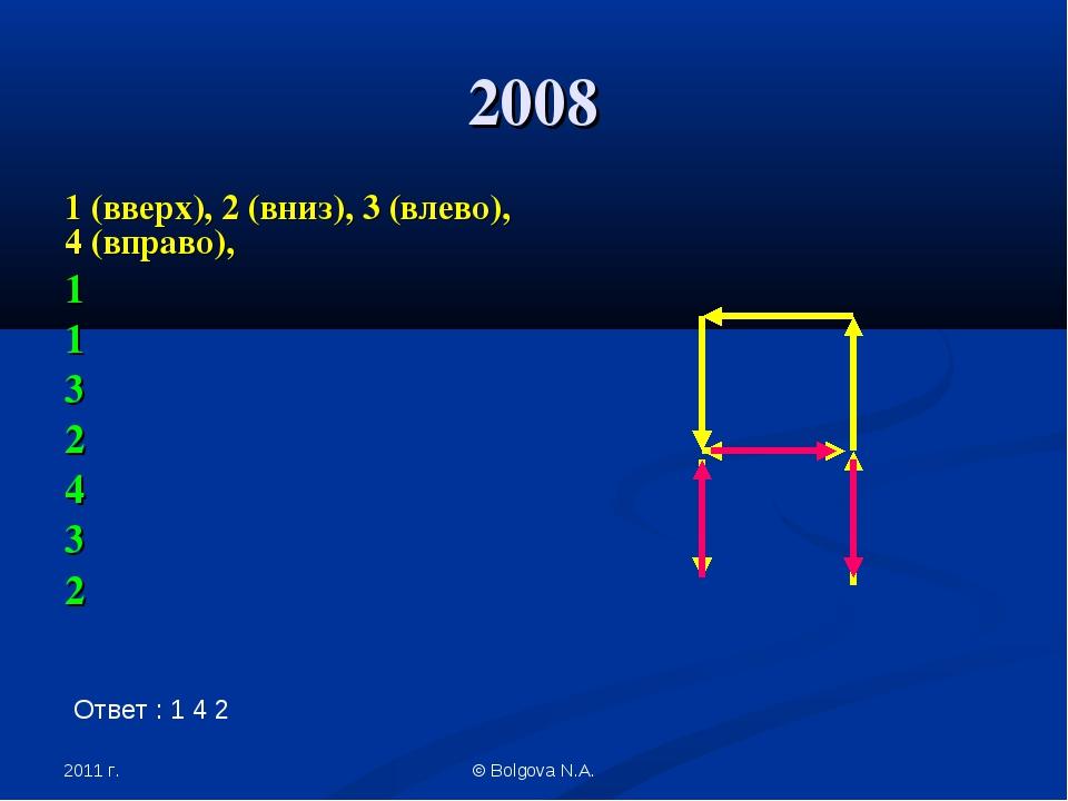 2011 г. © Bolgova N.A. 2008 1 (вверх), 2 (вниз), 3 (влево), 4 (вправо), 1 1 3...