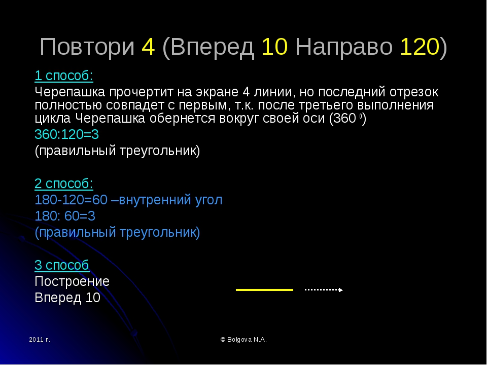 2011 г. © Bolgova N.A. Повтори 4 (Вперед 10 Направо 120) 1 способ: Черепашка...