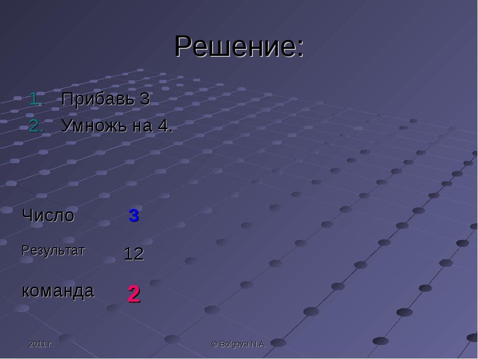 2011 г. © Bolgova N.A. Решение: Прибавь 3 Умножь на 4. Число3 Результат12 к...