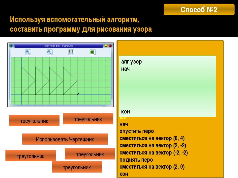 Используя цикл N РАЗ, составить программу для рисования узора алг узор нач ко...