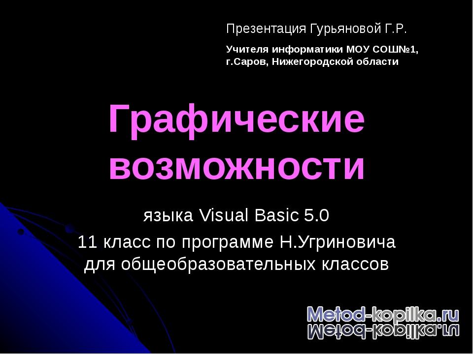 Графические возможности языка Visual Basic 5.0 11 класс по программе Н.Угрино...