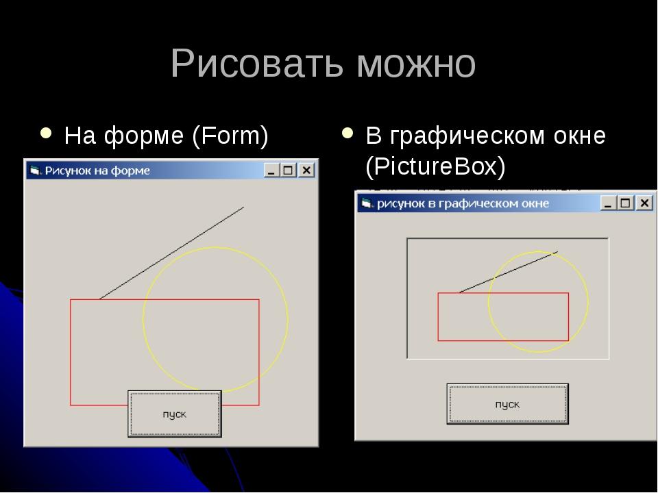 Рисовать можно На форме (Form) В графическом окне (PictureBox)