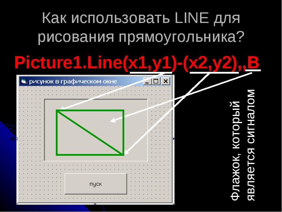 Как использовать LINE для рисования прямоугольника? Picture1.Line(x1,y1)-(x2,...