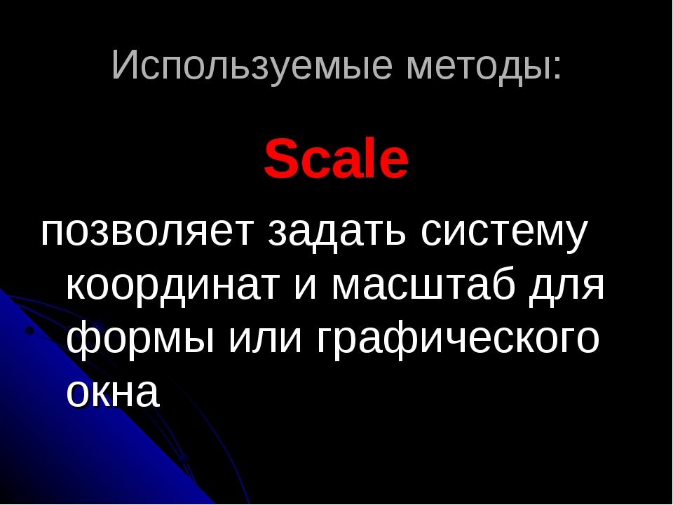 Используемые методы: Scale позволяет задать систему координат и масштаб для ф...