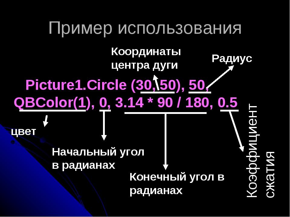 Пример использования Picture1.Circle (30, 50), 50, QBColor(1), 0, 3.14 * 90 /...