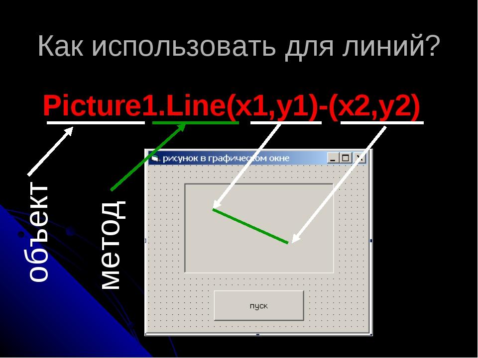 Как использовать для линий? Picture1.Line(x1,y1)-(x2,y2) объект метод