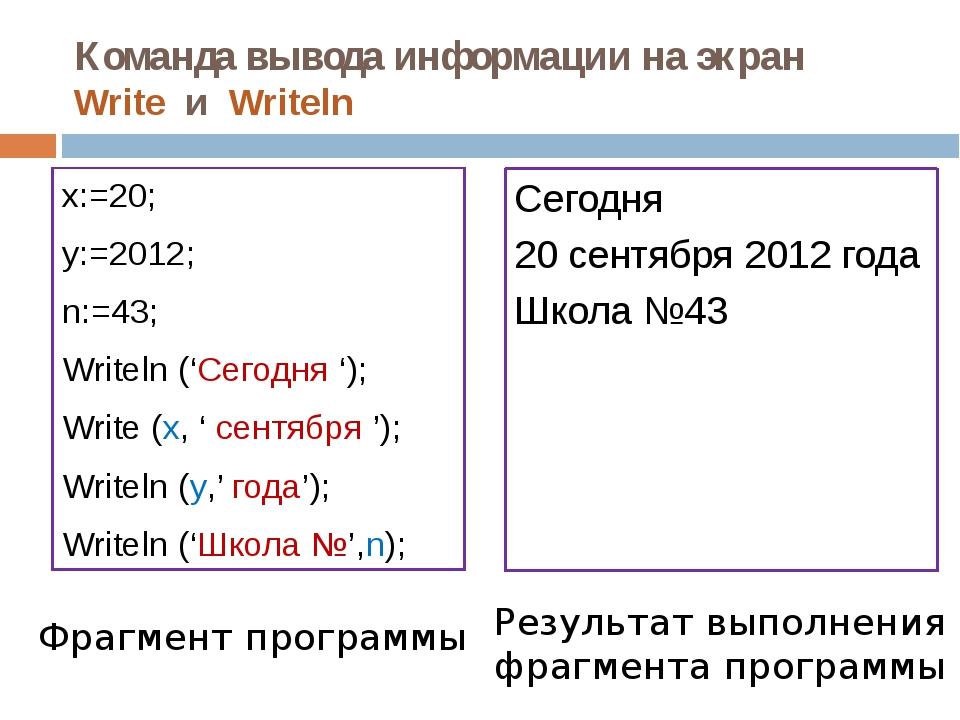 Команда вывода информации на экран Write и Writeln x:=20; y:=2012; n:=43; Wri...