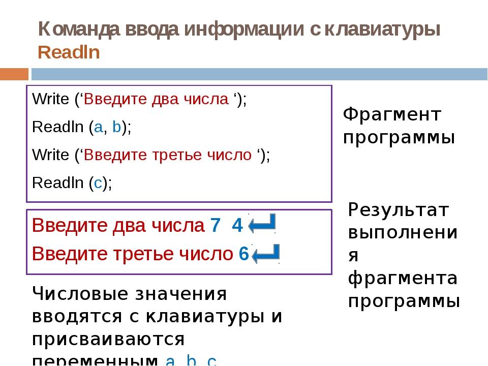 Команда ввода информации с клавиатуры Readln Write ('Введите два числа '); Re...