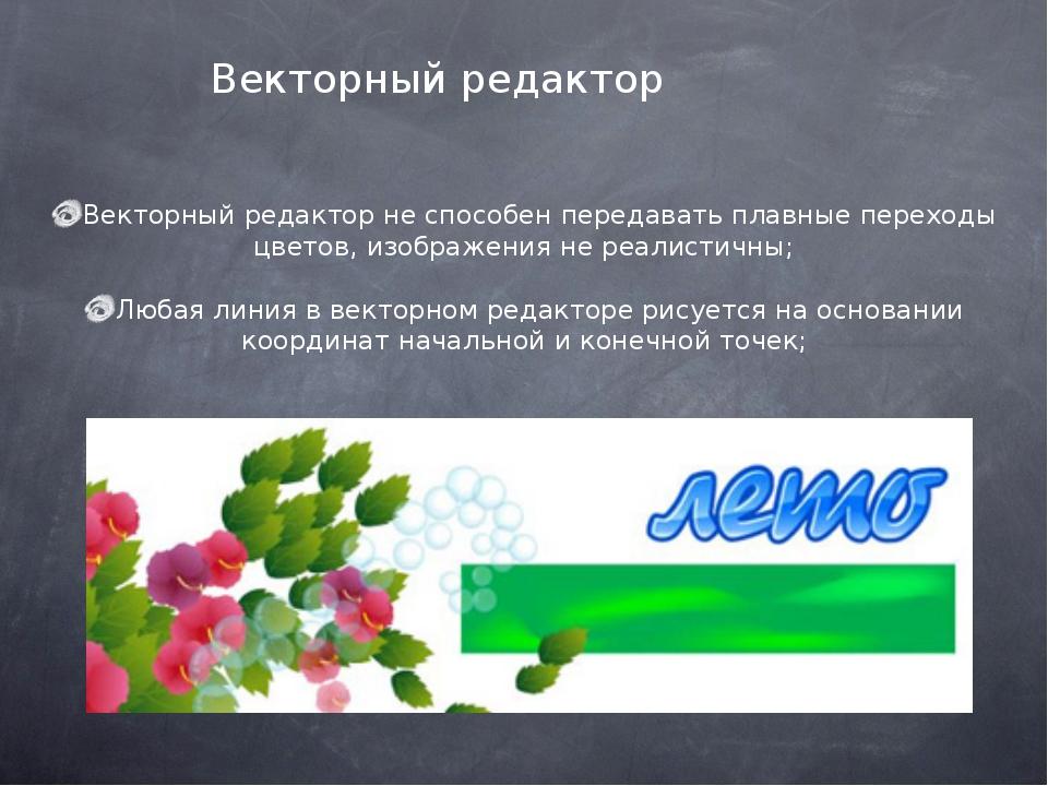 Векторный редактор не способен передавать плавные переходы цветов, изображен...