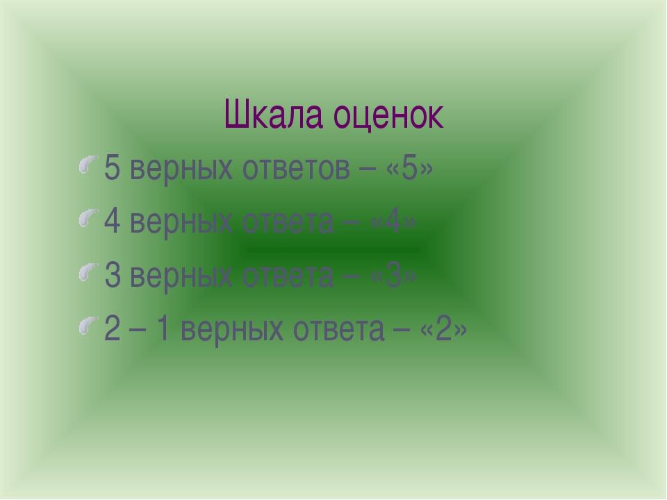 Шкала оценок 5 верных ответов – «5» 4 верных ответа – «4» 3 верных ответа – «...