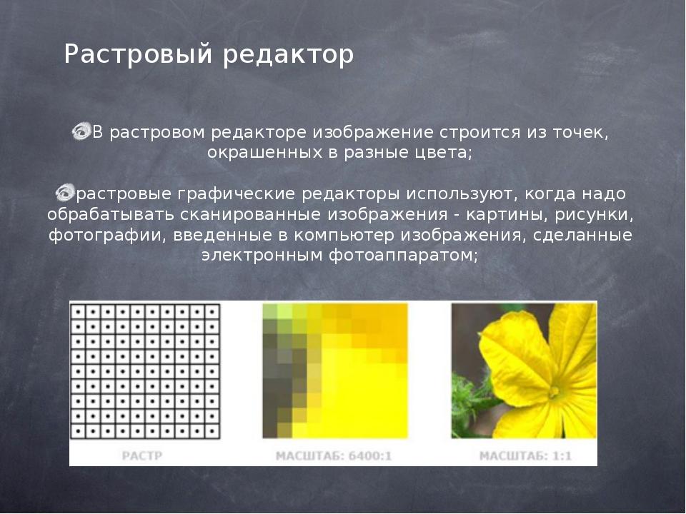 В растровом редакторе изображение строится из точек, окрашенных в разные цве...