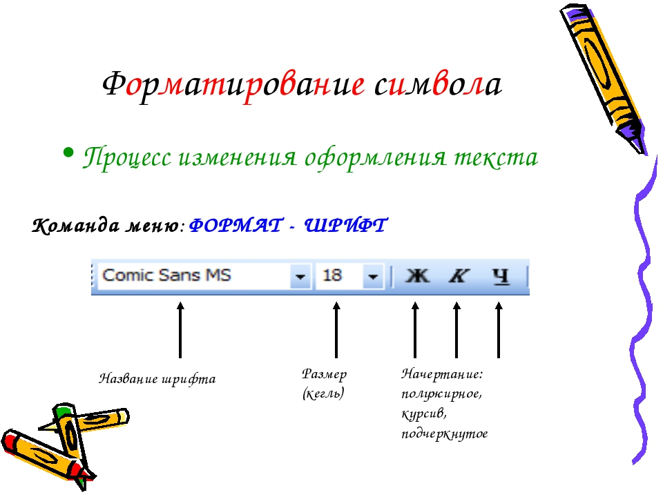 Форматирование символа Процесс изменения оформления текста Команда меню: ФОРМ...