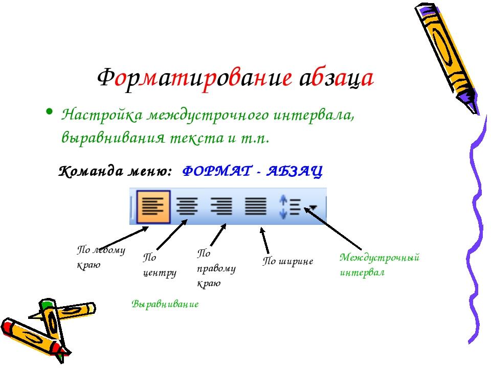 Форматирование абзаца Настройка междустрочного интервала, выравнивания текста...